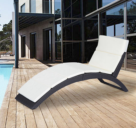 Outsunny Folding Outdoor Patio Rattan Wicker Sofa Chaise Lounge Chair Couch