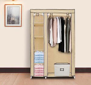"""69"""" Tan Portable Clothes Organizer Closet w/ Shelves - Clothing Storage Wardrobe"""