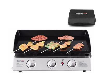 Royal Gourmet Portable 3 Burner Propane Gas Grill Griddle Camp with Cover PD1300