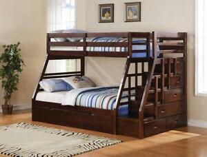 Twin Over Full Kids Bunk Bed W Stairs And Trundle Furniture