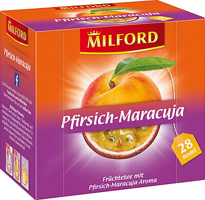 (100g=3,95€) Milford Tee Pfirsich Maracuja - Früchtetee Pfirsisch - 28 Beutel