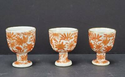 (3) ANTIQUE CHINESE EXPORT PORCELAIN SACRED BIRD & BUTTERFLY EGG CUPS