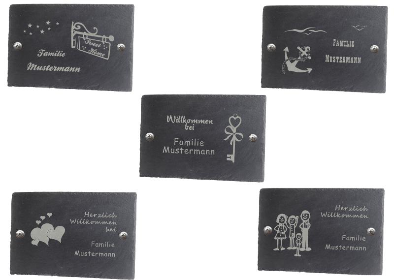 Türschild Namensschild WunschName Schiefer 30x20cm Haustürschild versch Motive