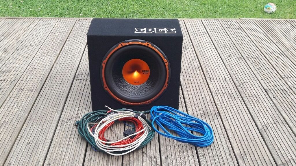 """Subwoofer. Active Subwoofer EDGE 12"""" With Wiring Kit."""