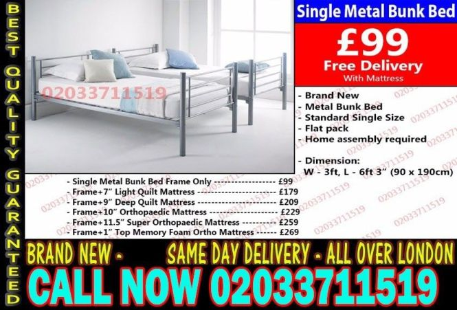 Wow Offer Single Metal Bunk Bed And Mattresses Today Delivery