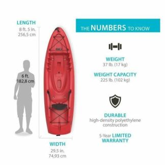 LIFETIME RED KAYAK - HYDROS 85 SIT ON TOP - 8' LONG - JUST 37LBS - WITH PADDLE !