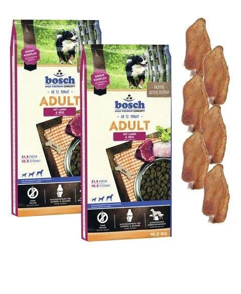 2x15kg Bosch Adult Lamm & Reis Hundefutter + 6 x Kaninchenohren