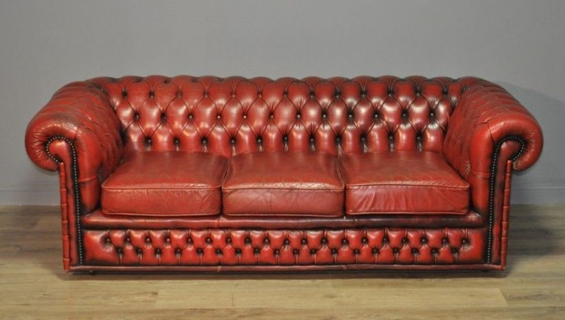 Large Vintage Red Leather On Back Chesterfield 3 Seat Sofa Couch Settee