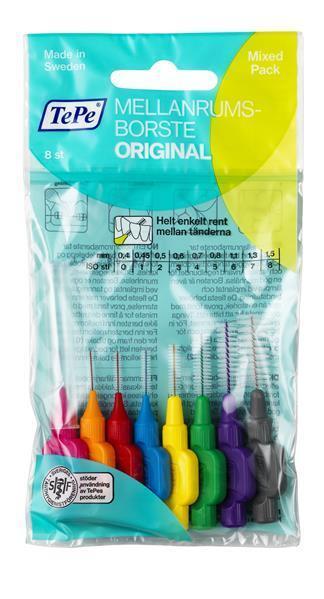 TePe Interdentalbürsten gemischt Orginal  - 8 Stück Zahnzwischenraumbürsten