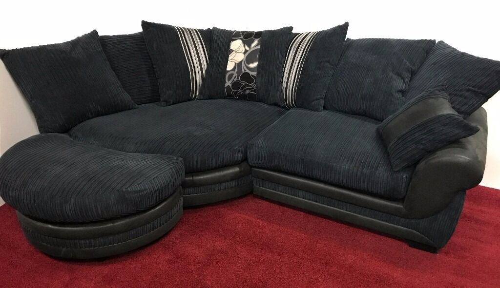 Scs Kirk Black Jumbo Cord Corner Chaise Large Twister Chair & Scs Tan Leather Corner Sofa | Okeviewdesign.co