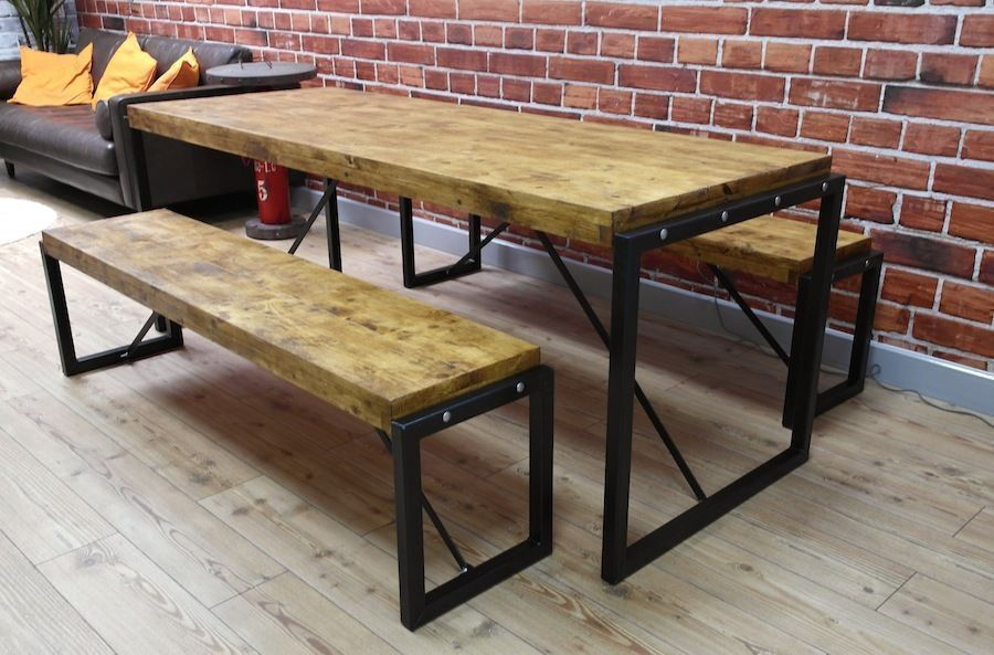 Cafeteria Benches Industrial Steel Reclaimed Wood Dining