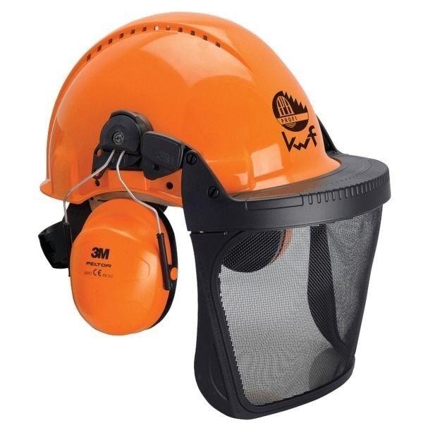Peltor Schutzhelm Forsthelm G3000M orange mit Gesichts- und Gehörschutz