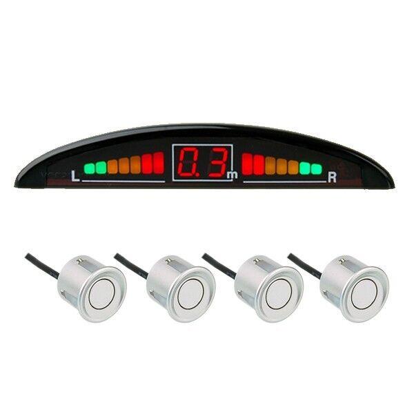 Einparkhilfe mit Display&Ton, 4-Sensoren in Silber Rückfahrwarner Parkhilfe PDC