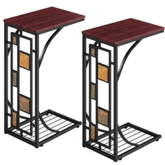 2 Pcs C Shaped Sofa Side End Tables Under Sofa Coffee Tray Living Room Set of 2