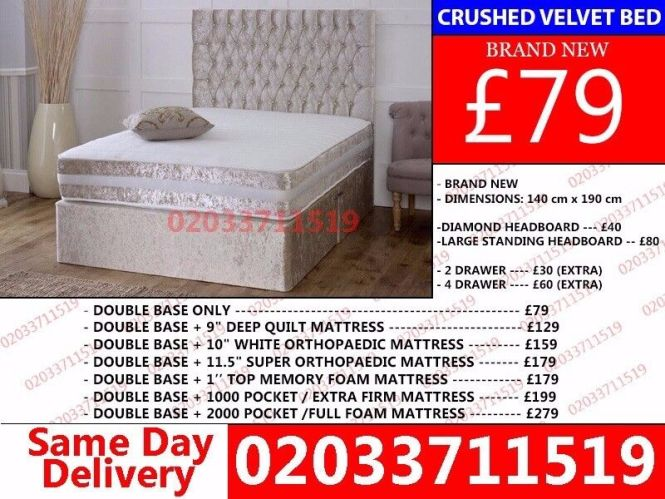 Brand New Double Crush Velvet Divan Bed Available With Mattress Order Now Honolulu In Hoxton London Gumtree