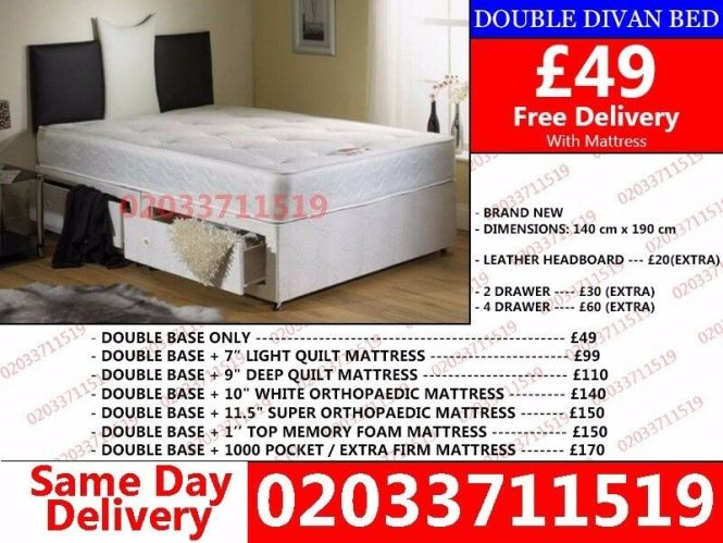Brand New Small Double Divan Bed With Mattress Vero Beach