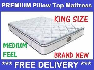 King Size Bed Mattress Premium Pillow Top New Delivered Free