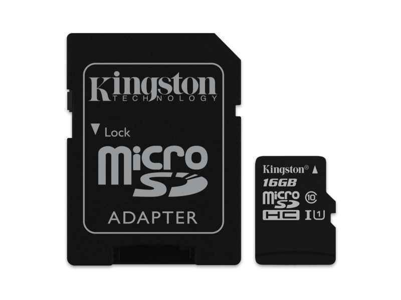 16 GB MicroSDHC MicroSD Speicherkarte mit SD-Adapter Kingston Class 10 Full HD