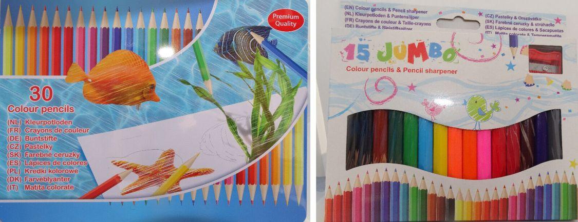Jumbo Buntstifte mit Anspitzer oder 30 tlg Buntstift Set im Metallkasten