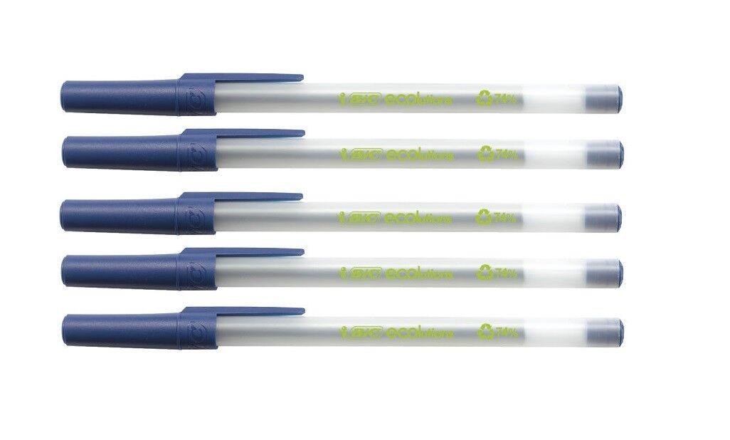 5x BiC® Kugelschreiber Schreibgerät ECOlutions Round Stic - 0,4 mm, blau