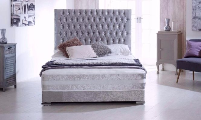 Silver Crushed Velvet Divan Bed And Mattress Single Double King Size Headboard