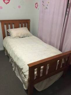 Lovely Wooden Single Bed With Mattress