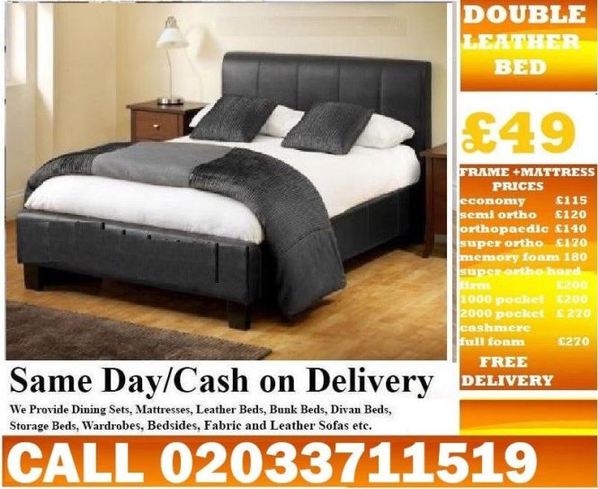 Order Now Brand New Double Divan Leather Bed Orthopaedic Memory Foam Raleigh