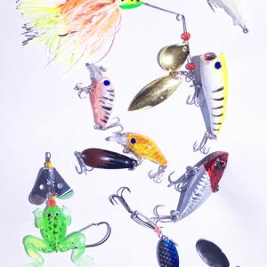 USA Lot PCS Fishing Lures CrankBaits Hooks Baits Tackle Spinner frog shrimp Box