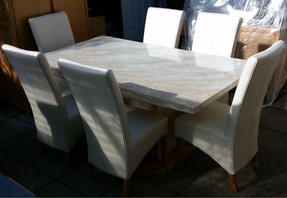 BEAUTIFUL CREMA MARBLE DINING TABLE Amp 6 WHITE LEATHER