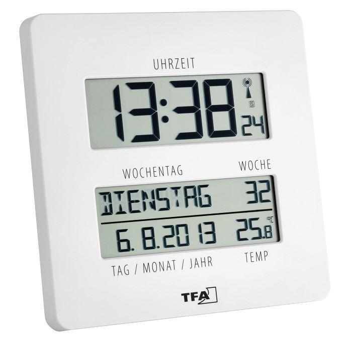 Funkuhr Funkwanduhr Uhr weiss Wochentag ausgeschrieben TIME LINE TFA Dostmann