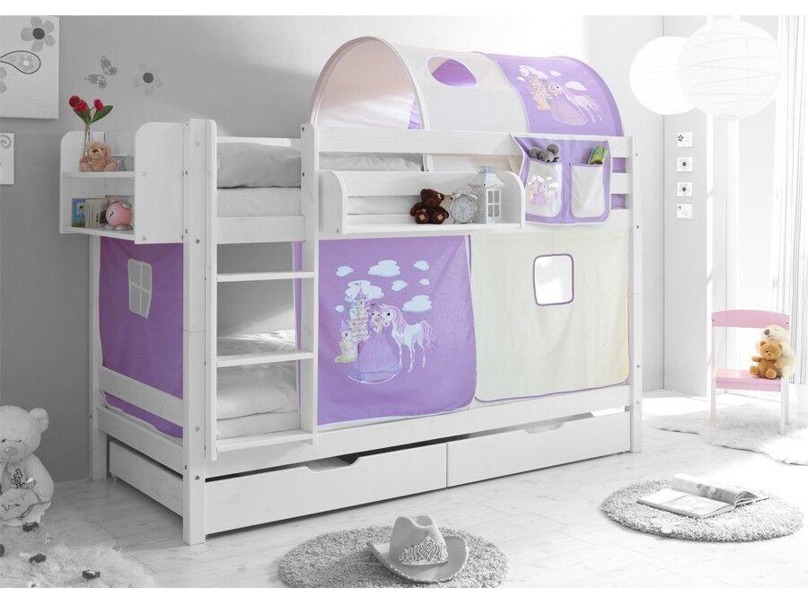 Etagenbett Hochbett Spielbett Kinder Bett 90x200cm + Vorhang
