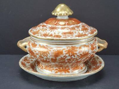 ANTIQUE CHINESE EXPORT PORCELAIN SACRED BIRD & BUTTERFLY SMALL TUREEN / PLATE