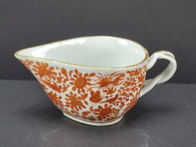 ANTIQUE CHINESE EXPORT PORCELAIN SACRED BIRD & BUTTERFLY GRAVY OR SAUCE BOAT