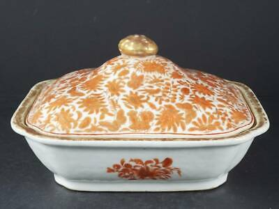 ANTIQUE CHINESE EXPORT PORCELAIN SACRED BIRD & BUTTERFLY RECT. COVERED DISH