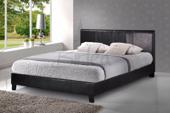 Low Frame Leather Bed With Memory Range Mattress Next Day Delivery