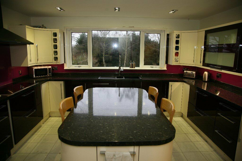 BampQ Cooke Amp Lewis Kitchen In High Gloss Aubergine Amp Cream 30 Cabinets Inc Island And Some