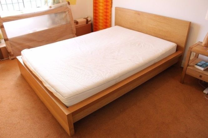 Ikea Malm Double Bed Frame Oak Veneer With Mattress Free Delivery