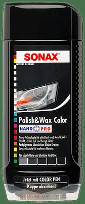 ORIGINAL SONAX POLISH & WAX COLOR NANOPRO SCHWARZ AUTO POLITUR MIT COLOR PEN