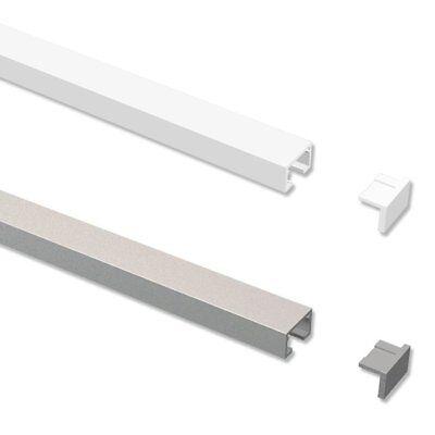Gardinenschienen / Vorhangschienen / Objektschiene aus Alu in Weiß o. Silbergrau