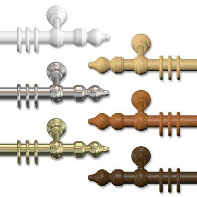 Gardinenstangen 28 mm Ø - klassische Vorhangstangen aus Holz & Metall-Kunststoff