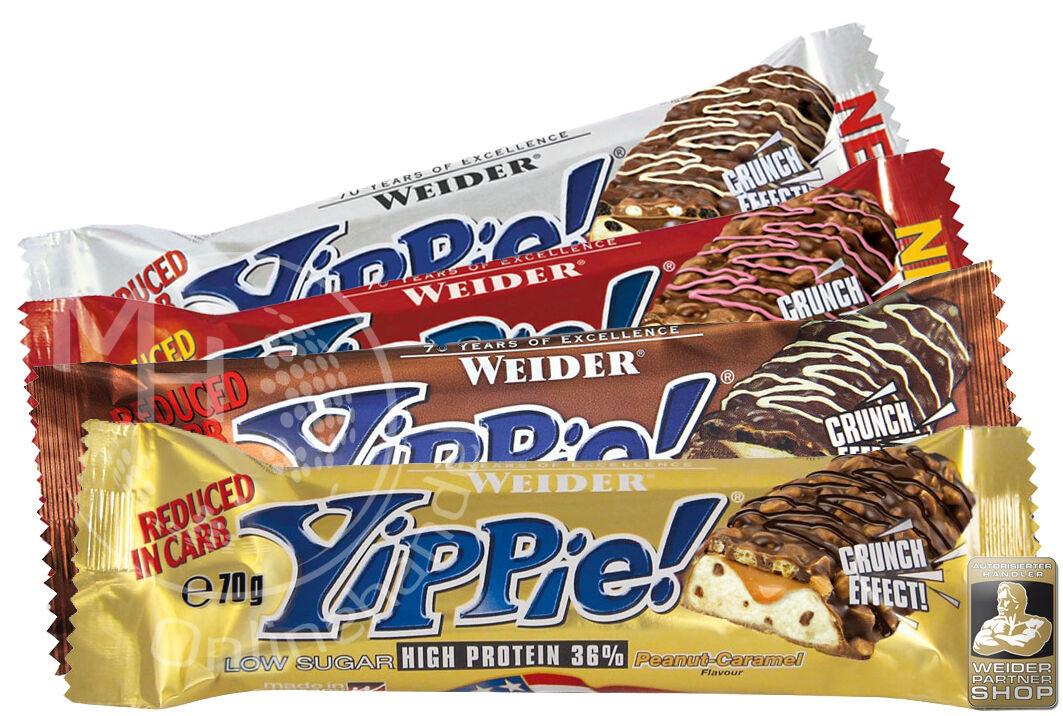 Weider YIPPIE! Bar 12x 70g (30,94€/Kg) Protein Eiweiß Riegel 36% !ALLE SORTEN