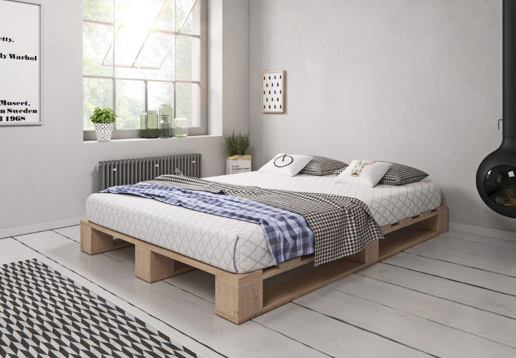 Palettenbett aus Holz Holzbett Massivholzbett Palettenmöbel