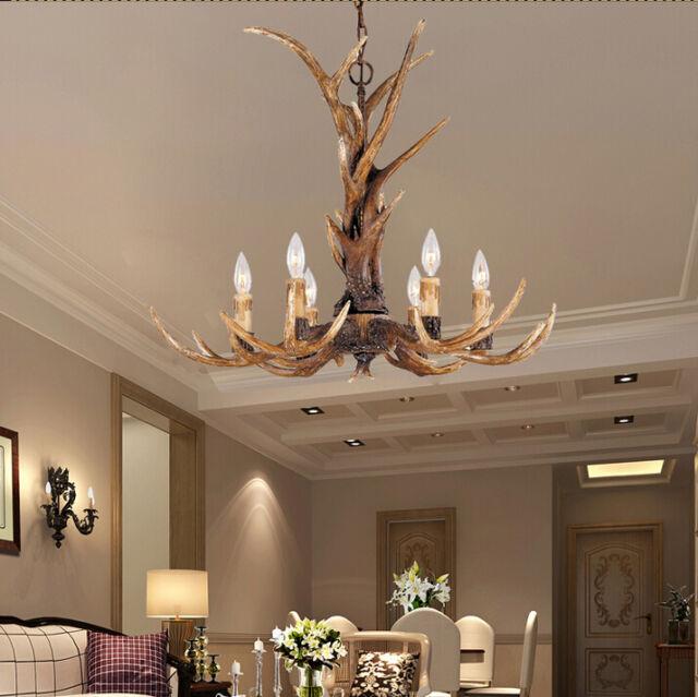 American Deer Horn Antler Resin Pendant Light Chandelier Hanging Lamp Fixture