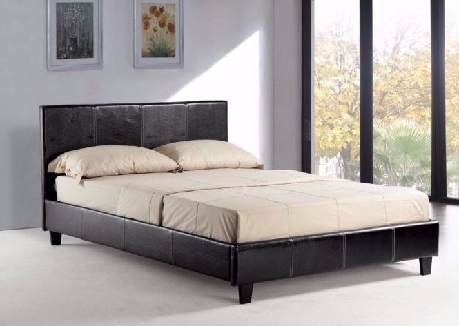 Double Leather Bed With Orthopaedic Mattress For