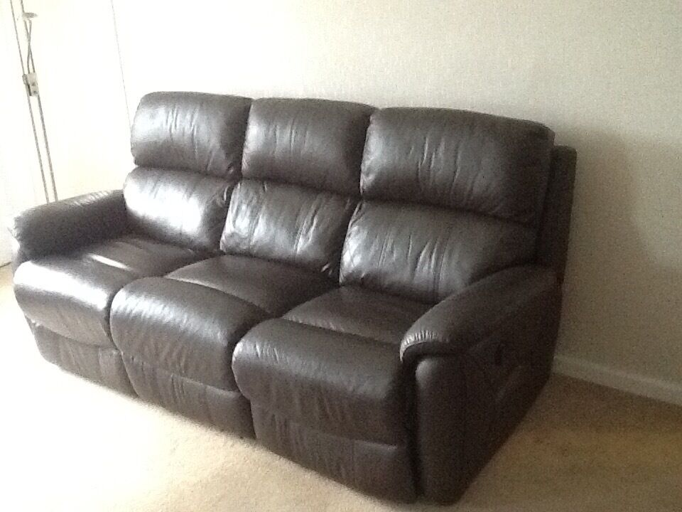 Dfs Navona Dark Brown Leather 3 Seater Electric Recliner Sofa In