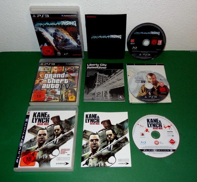 3 Spiele: Metal Gear Rising, Kane & Lynch u. Grand Theft Auto IV 4  fuer PS3