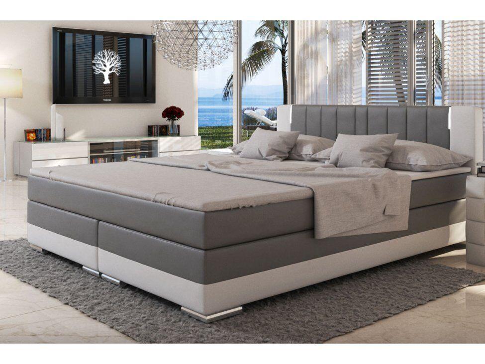 Boxspringbett 200 x 200 cm grau weiß Hotelbett Doppelbett NEU & OVP SUNG