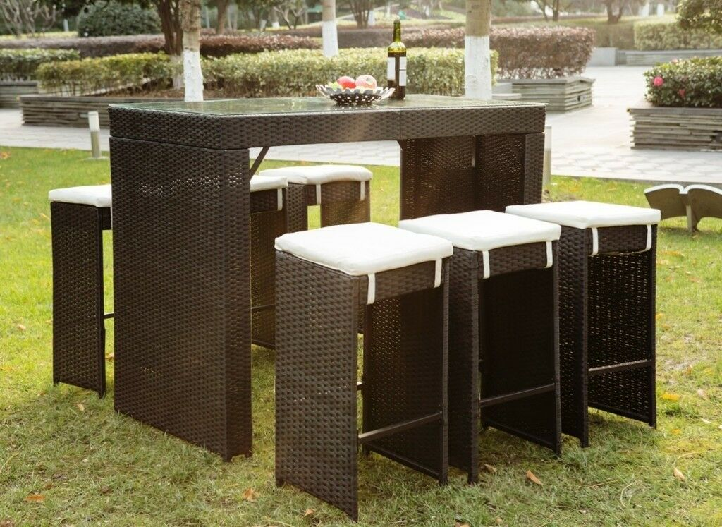 SALE! Rattan Wicker Patio Bar Stool Dining Table Furniture
