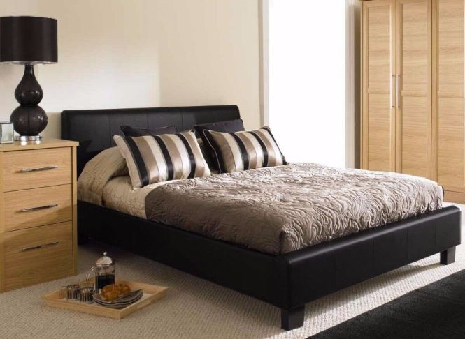Uk Famed Leather Bed In King Size With Semi Orthopaedic Mattress Black Brown