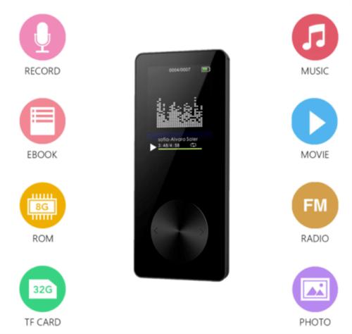MP3 Musik Player 8GB Wiedergabe 1,8 Zoll LCD Display Mit FM Radio e-Book schwarz